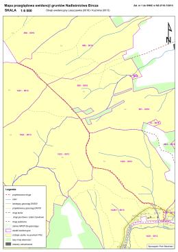Mapa przeglądowa ewidencji gruntów Nadleśnictwa Bircza 1:6 000