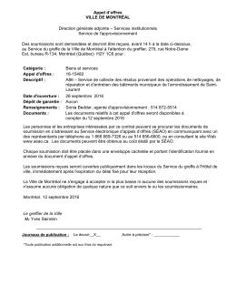 Appel d`offres VILLE DE MONTRÉAL Direction générale adjointe