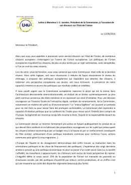 1 Lettre à Monsieur J.-C. Juncker, Président de la