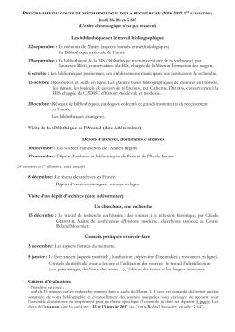 Les bibliothèques et le travail bibliographique 22 septembre : Le