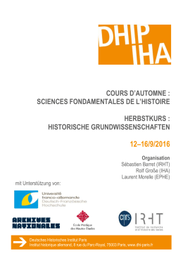 Programm - Deutsches historisches Institut Paris