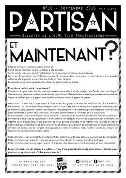 Bulletin Partisan de septembre 2016 ( PDF )
