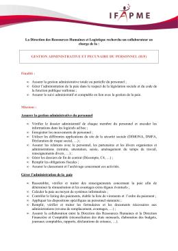 profil Gestion administrative et pécuniaire du personnel