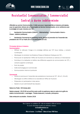 Assistant(e) Communication / Commercial(e) - Thonon-les