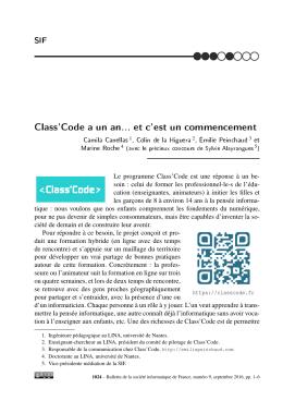 Class`Code a un an... et c`est un commencement