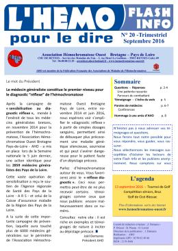 N° 20 -Trimestriel Septembre 2016 Sommaire L`agenda