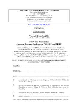 Mediation civile - Barreau de Chambéry