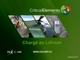 Présentation - Critical Elements Corporation