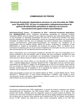 COMMUNIQUE DE PRESSE Advanced Accelerator Applications