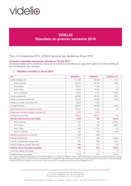 VIDELIO Résultats du premier semestre 2016