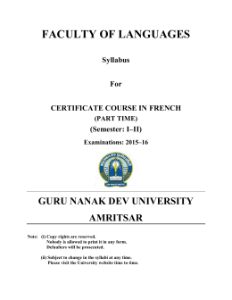 CERTIFICATE COURSE IN FRENCH PART TIME
