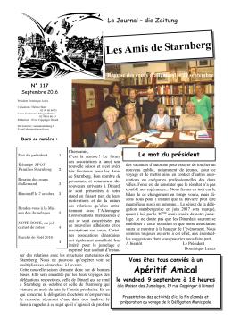 Les Amis de Starnberg Le mot du président