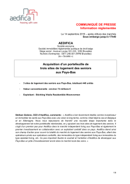 COMMUNIQUÉ DE PRESSE Information réglementée AEDIFICA
