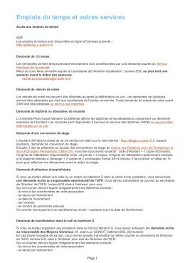 Emplois du temps et autres services - UFR SEGMI