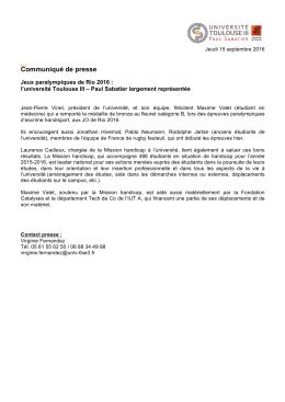Communiqué de presse - Université Toulouse III