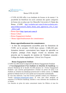Bonus UFR ALLSH - Aix-Marseille Université