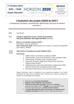 L`évaluation des projets H2020 du Défi 5
