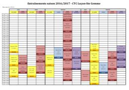 Entraînements saison 2016/2017 - CTC Luçon
