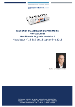 Newsletter n°16-389 du 16 septembre 2016