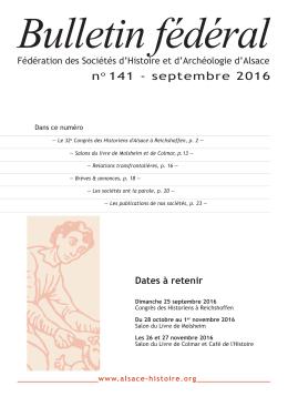 Bulletin fédéral n°141 Septembre 2016
