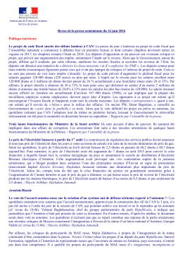 Revue de presse - La France en Arménie