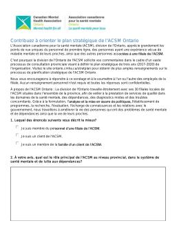 Contribuez à orienter le plan stratégique de l ACSM Ontario