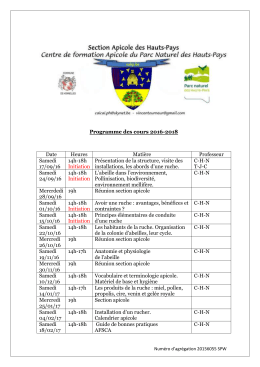 Programme des cours 2016-2018 Date Heures Matière