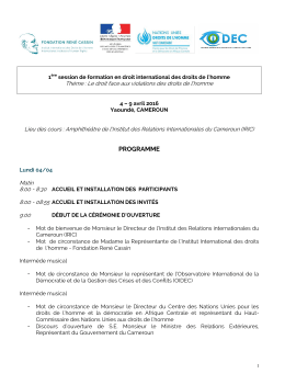 programme - Institut international des Droits de l`Homme