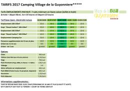 TARIFS 2017 - Camping De La Guyonniere