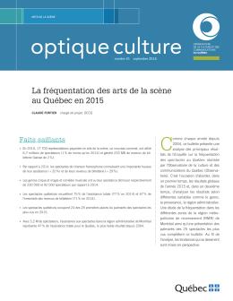 Optique culture – Numéro 51, septembre 2016