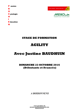 AGILITY Avec Justine BAUDHUIN