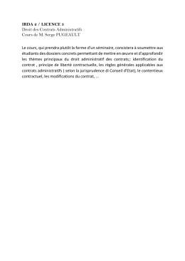 Droit administratif des contrats
