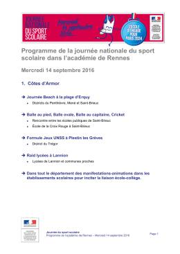 Décourvrir le programme dans l`académie de Rennes