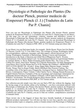 Physiologie et Pathologie des Plantes (Du docteur Plenck, premier