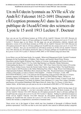 Un médecin lyonnais au XVIIe siècle André Falconet 1612