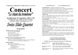 Programme de la soirée - Rencontre Culturelles de la Vallée de Joux
