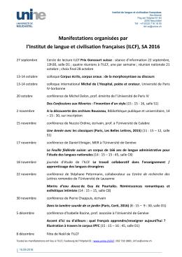 (ILCF), SA 2016 - Université de Neuchâtel