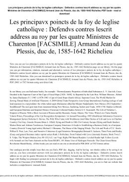 Les principavx poincts de la foy de leglise catholiqve : Defendvs