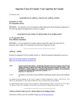 Supreme Court of Canada / Cour suprême du Canada
