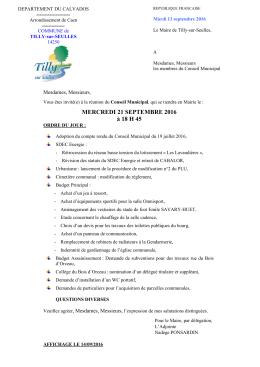 Convocation prochain conseil municipal - Mairie de Tilly-sur