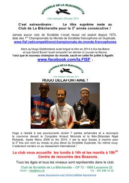 CLUB DE SCRABBLE DE LA BLÉCHERETTE