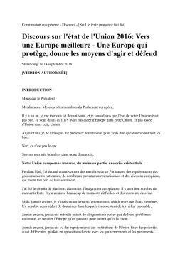 Discours sur l`état de l`Union 2016 - Europe Direct Marche