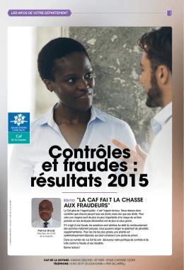 Contrôles et fraudes : résultats 2015