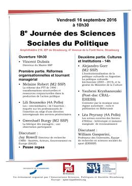 8e Journée des Sciences Sociales du Politique