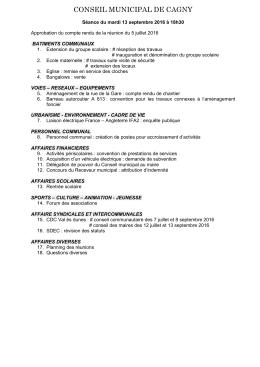 Ordre du jour de la réunion de conseil municipal du 13.09.2016