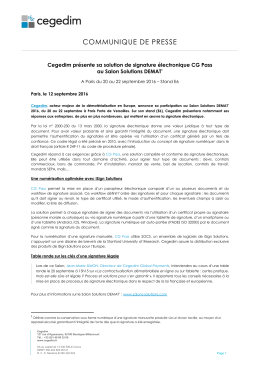 Cegedim présente sa solution de signature électronique CG Pass
