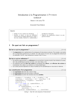 Introduction à la Programmation 1 Python
