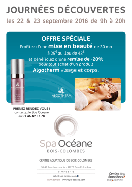 Offre Spa - Centre Aquatique de Bois