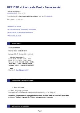 Licence de Droit - 2ème année - UFR Droit et Science Politique