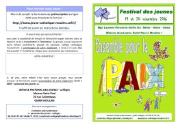 dépliant FDJ 2016 - Pastorale des jeunes de l`Allier